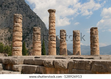 Five standing columns of Temple of Apollo in Delphi, Greece.