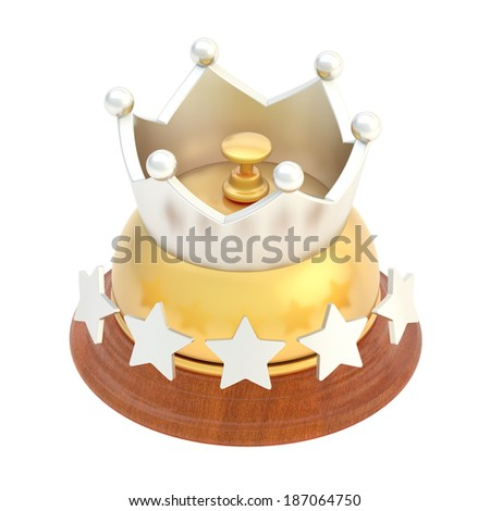 Five star hotel's golden reception bell with the crown above it, isolated over the white background