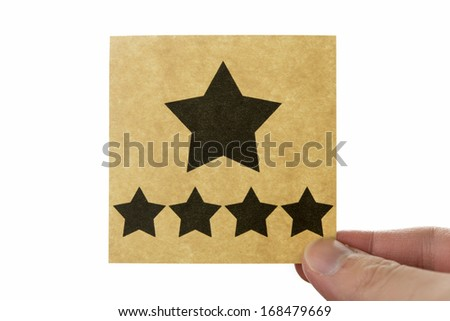 Five star icon, brown stick note isolated on white background #168479669