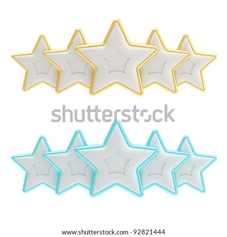 Five star rating composition made of silver gold and blue stars isolated on white