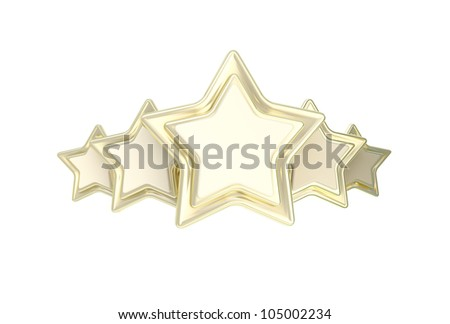 Five star rating golden emblem isolated on white