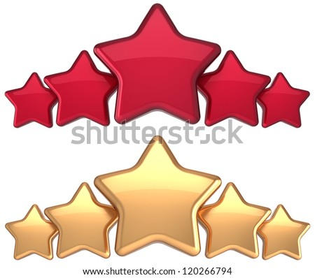 Five star service gold red golden award success decoration abstract. Best top excellent quality business rating trophy icon concept. Detailed 3d rendering. Isolated on white background.