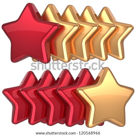Five star service gold red golden leadership award success decoration. Best competition top excellent quality business rating favorite icon concept. Detailed 3d rendering. Isolated on white background