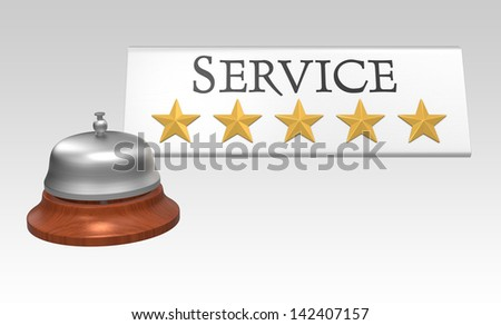 Five stars service concept with service bell. Clipping path included.