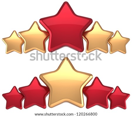 Five stars service gold red golden leadership award success decoration. Best competition top excellent quality business rating trophy icon concept. Detailed 3d rendering. Isolated on white background.