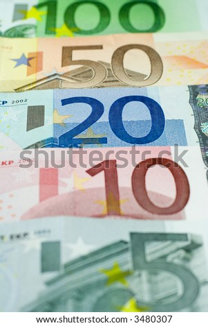 Five, Ten, Twenty, Fifty, and One Hundred Euro banknotes.
