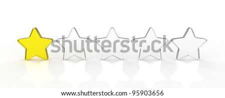 Five transparent and shiny glass stars showing the rating one out of five. One yellow and four white.