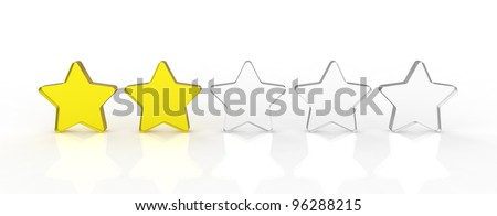 Five transparent and shiny glass stars showing the rating two out of five. two yellow and three white.