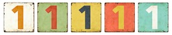Five vintage tin signs on a white background - Number 1