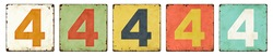 Five vintage tin signs on a white background - Number 4
