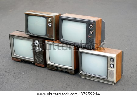 Five vintage TV sets