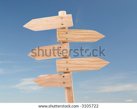Five-way wooden blank signpost against blue sky