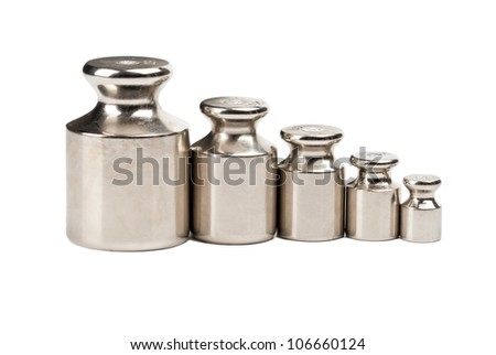 Five weights of various sizes on a white background
