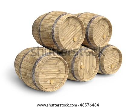 Five wine barrels