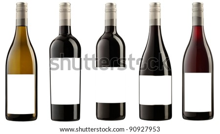 five wine bottles with blank labels