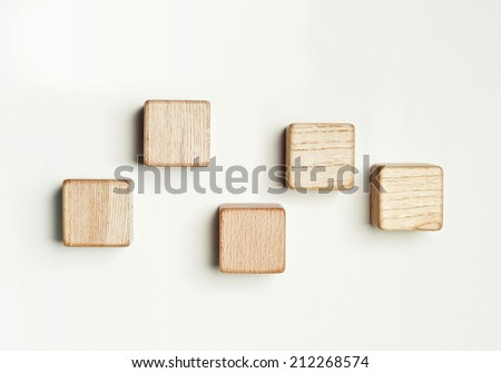Five wood blocks in the white background. Stock foto ©
