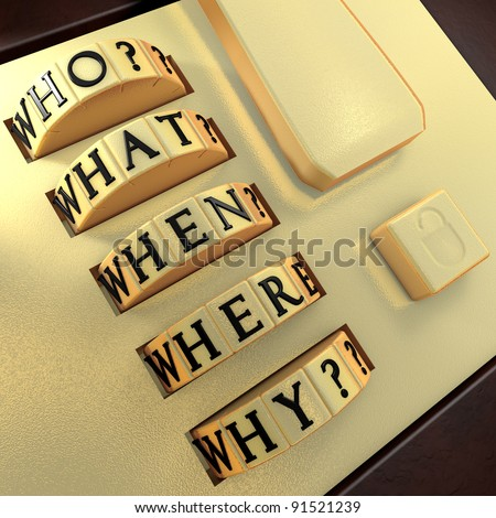 Five Ws: Who? What? Where? When? Why? Answer this question in order to unlock the suitcase - stock photo