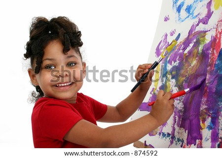 Five-year-old African-American girl painting. [5 years old]