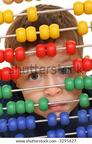 five years old boy with abacus close-ups