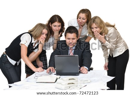 Five young business people in office surprised and terrified. Isolated on white background