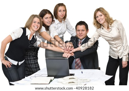 Five young business people in office take hands together. Isolated on white background