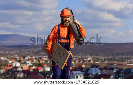 Fix or build. Provide safe access to roof. Roofer repair roof. Roof installation. Man hard hat work outdoor. Building house. Roof Mechanic concept. Removing hazards. Inspect repair and replace.