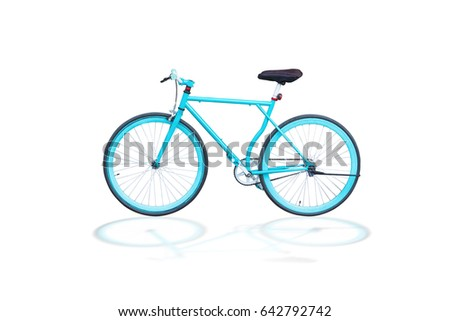 fixed gear bicycle or fixed-wheel bycicle or fixie,It looks and looks like a vintage bycicle.isolated on white background with clipping path.