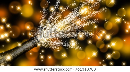 fizzing champagne on festive vibrant background - 3d illustration