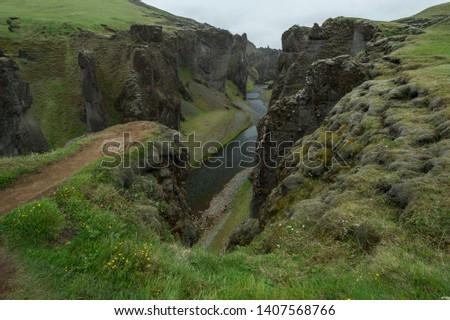 Fjaðrárgljúfur Nature Ravine in Iceland
