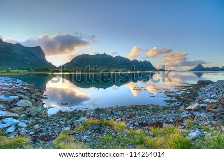 Fjord shore in Norway - Islands in northern Norway