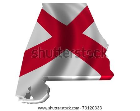 Flag and map of Alabama