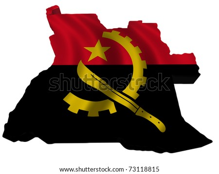 Flag and map of Angola