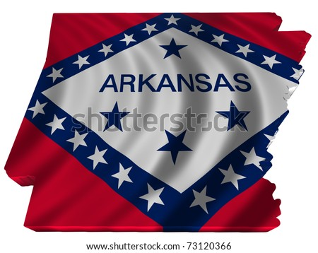 Flag and map of Arkansas