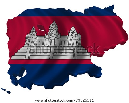 Flag and map of Cambodia