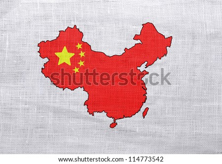 Flag and map of China on a sackcloth background