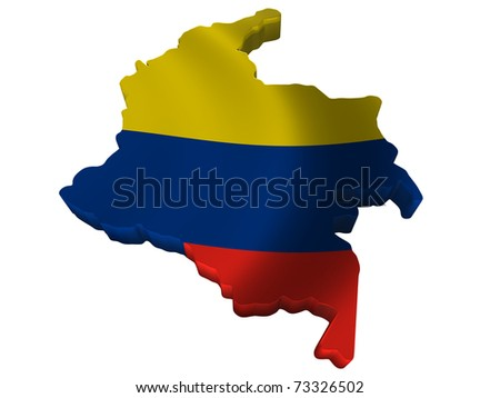 Flag and map of Colombia
