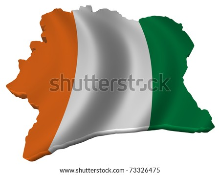 Flag and map of Cote d'Ivoire