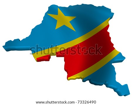 Flag and map of Democratic Republic of Congo