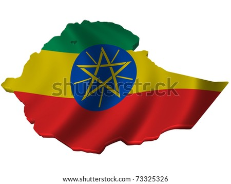 Flag and map of Ethiopia - stock photo