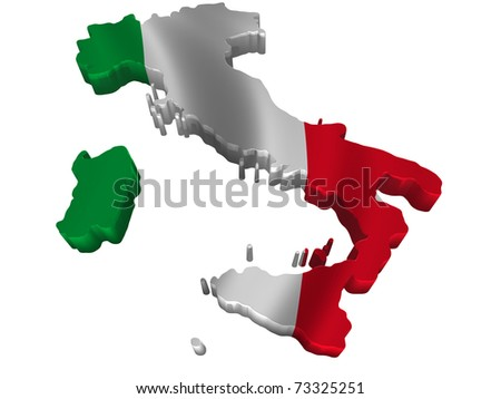 Flag and map of Italy