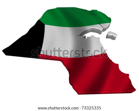 Flag and map of Kuwait