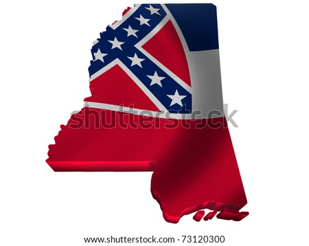 Flag and map of Mississippi