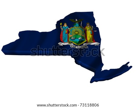 Flag and map of New York