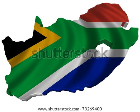 Flag and map of South Africa