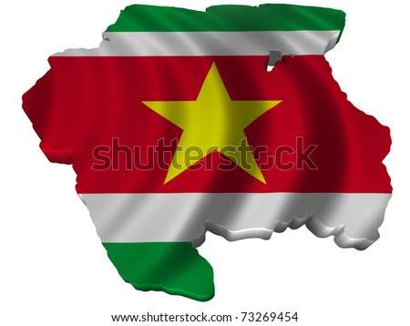 Flag and map of Suriname