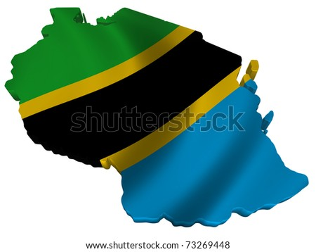 Flag and map of Tanzania