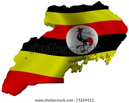 Flag and map of Uganda