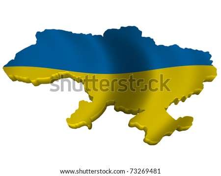 Flag and map of Ukraine