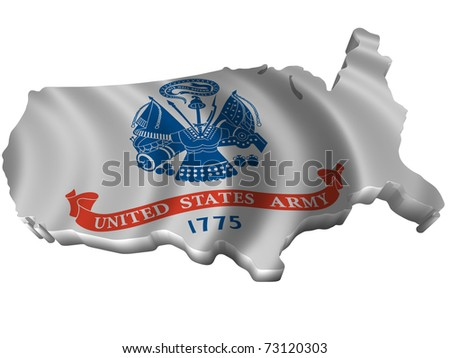 Flag and map of United States Army
