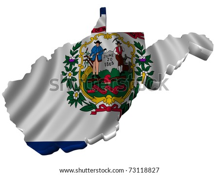 Flag and map of West Virginia